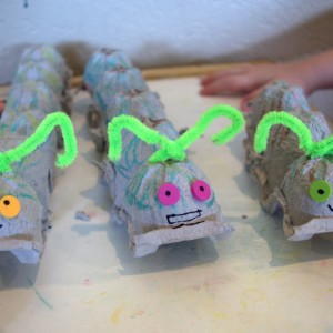 make a caterpillar from egg carton